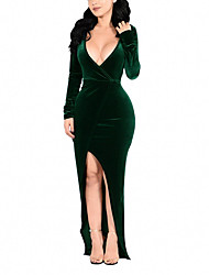 Women's Party Plus Size Sexy Bodycon Dress,Solid Deep V Maxi Long Sleeves Polyester Spandex Spring Fall High Rise Micro-elastic Medium