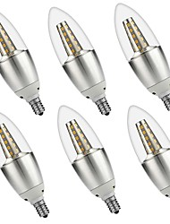 5W E14 LED Candle Lights C35 35 SMD 3528 500 lm Warm White White 3000 6000 K Decorative AC 220-240 AC 110-130 V