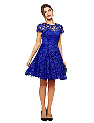 Women's Summer Floral Lace Dresses Short Sleeve Vestidos Party Casual Color Blue Red Black Mini Dress