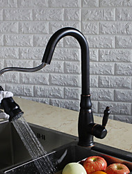 Contemporary Antique Art Deco/Retro Tall/­High Arc Pull-out/­Pull-down Standard Spout Centerset Pullout Spray Rotatable Thermostatic