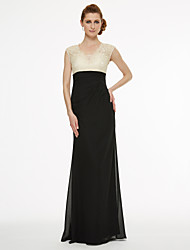 Sheath / Column V-neck Floor Length Chiffon Lace Mother of the Bride Dress with Lace Pleats by LAN TING BRIDE®