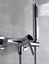 Contemporary Wall Mounted Widespread Ceramic Valve Single Handle Two Holes Chrome , Bathtub Faucet