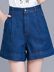 cheap -Women's Plus Size Wide Leg Shorts Jeans Pants - Solid, Pleated High Rise