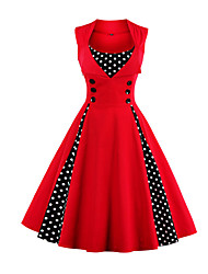 cheap -Women's Plus Size Going out Vintage A Line Dress - Polka Dot Solid Color, Print Black & Red