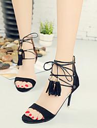 Women's Sandals Peep Toe Sxey Spring Summer Club Shoes Comfort Suede Party & Evening Dress Stiletto Heel Zipper Lace-up Tassel