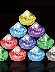 12Pcs Changing Color Novelty Gadget Led Light Ice Diamond  Ice Cubes Decorative Led Luminous Flash Light Ice