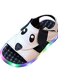 cheap -Boys' Sandals Comfort PU Spring Summer Casual Comfort Hook & Loop LED Flat Heel White Black Flat
