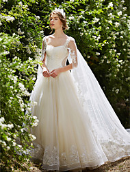 cheap -Ball Gown Straps Watteau Train Tulle Wedding Dress with Crystal Beading Sequin Appliques by LAN TING BRIDE®