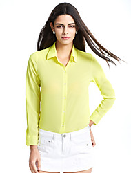 cheap -Women's Daily Casual Summer Shirt,Solid V Neck Long Sleeves Polyester Medium
