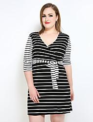 Courte Tee Shirt Noir et blanc Robe Femme Décontracté / Quotidien Soirée / Cocktail Grandes Tailles Sexy simple Chic de Rue,Rayé Couleur