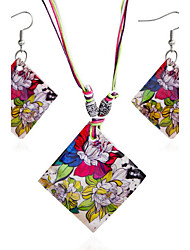 cheap -Women's Jewelry Set 1 Necklace / 1 Pair of Earrings - Bohemian Square Cut Rainbow Bridal Jewelry Sets For Gift / Daily / Casual