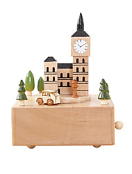 cheap -Music Box Wood Castle House Gift Unisex Gift