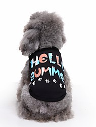 cheap -Cat Dog Shirt / T-Shirt Vest Dog Clothes Letter & Number Black Cotton Costume For Pets Men's Women's Cute Casual/Daily Fashion