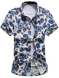 Pánské Květinový Jdeme ven Běžné/Denní Velké velikosti Jednoduché Košile-Léto Bavlna Polyester Košilový límec Krátký rukáv Střední