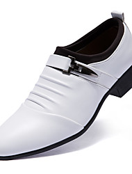 baratos -Homens sapatos Couro Conforto Oxfords para Casual Escritório e Carreira Branco Preto