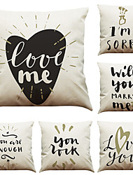 Set of 6 Couple Letters  Linen Pillowcase Sofa Home Decor Cushion Cover  Throw Pillow Case (18*18inch)