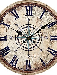 Retro Wall Clock Home Decoration Round Wall Clock With Roman Number Silent Decorative Vintage Rustic Wooden Clock Living Room
