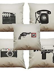 Set of 5 Retro Phone  Pattern  Linen Pillowcase Sofa Home Decor Cushion Cover (18*18inch)