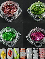4bottle / set nouvelle conception de rhombus de mode éblouissante paillette nail art laser stripe glitter fine tranche diy beauté