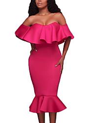 abordables -Moulante Robe Femme Soirée / Cocktail Soirée Sexy,Couleur Pleine Bateau Midi ½ Manches Polyester Spandex Eté Taille Haute Elastique Moyen