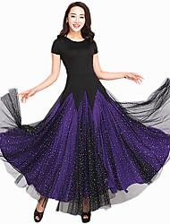 Danse de Salon Robes Femme Spectacle Elasthanne Tulle Fantaisie 1 Pièce Manche courte Robe