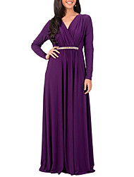 cheap -Women's Plus Size Daily / Holiday Street chic Sheath Dress - Patchwork Pleated High Rise Maxi Deep V / Spring / Fall