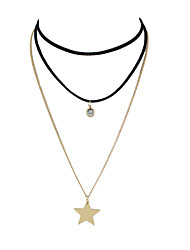 Недорогие -Жен. В форме линии Звезда форма Классический Кроссовер Слоистые ожерелья Хром Слоистые ожерелья Повседневные Бижутерия