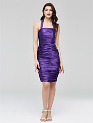 Sheath / Column Halter Knee Length Stretch Satin Cocktail Party Homecoming Dress with Ruching by TS Couture®