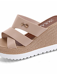cheap -Women's Shoes PU Summer Comfort Slippers & Flip-Flops / Sandals Walking Shoes Wedge Heel Open Toe Hollow-out for Black / Beige / Pink