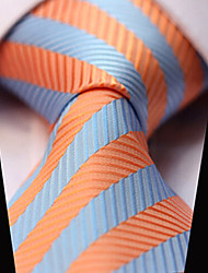 cheap -Men's Polyester Necktie, Party Work Casual Stripes Striped All Seasons Orange Light Blue