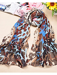 cheap -Women's Chiffon Scarf Cute Party Casual Rectangle Blue/Purple Leopard Print Scarves Polyester
