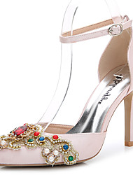 cheap -Women's Shoes Silk Summer / Fall D'Orsay & Two-Piece Sandals Stiletto Heel Pointed Toe Rhinestone / Crystal / Appliques White / Light