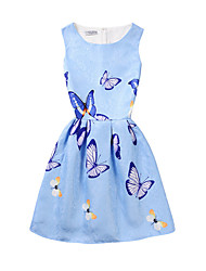 cheap -Girl's Daily Holiday School Print Dress,Polyester Summer Sleeveless Floral Blue Blushing Pink