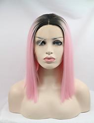 Femme Perruque Synthétique Lace Front Court Raide Rose Raie Centrale Cheveux Colorés Ligne de Cheveux Naturelle Coupe Carré Perruque