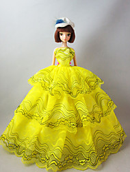 Party/Evening Dresses For Barbie Doll in Lemon Yellow For Girl's Doll Toy