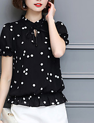 Women's Going out Holiday Simple Boho Summer Fall Blouse,Polka Dot Round Neck Short Sleeve Silk Opaque