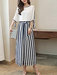 Women's Casual/Daily Simple Summer Blouse Pant Suits,Striped Round Neck Half Sleeve Inelastic