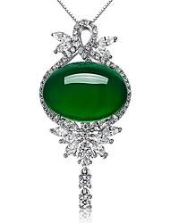 Недорогие -Жен. Прочее Синтетический изумруд Изумрудный Кулоны  -  Euramerican Мода Простой стиль Темно-зеленый Ожерелье Назначение Свадьба Для