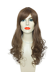 economico -Donna Parrucche sintetiche Lungo Ondulato naturale Castano dorato Parrucca naturale Parrucca per travestimenti