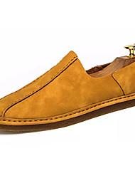 abordables -Hombre Zapatillas de deporte Confort PU Primavera Otoño Casual Confort Fruncido Tacón Plano Gris Ocre Amarillo Plano