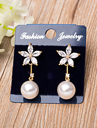 Women's Earrings AAA Cubic Zirconia Imitation Pearl Floral Imitation Pearl Cubic Zirconia Rose Gold Plated Jewelry Jewelry ForWedding