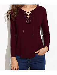 cheap -Women's Cotton Shirt - Solid V Neck