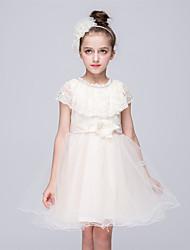 abordables -princesse genou longueur robe fille fleur - tulle filet sans manches bijou col avec perle par bflower