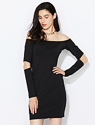 cheap -Women's Off The Shoulder|Cut Out Daily / Club Sexy / Simple Bodycon Cut Out Backless Slim DressSolid Boat Neck Mini Long Sleeve