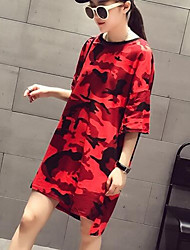 Women's Going out Casual/Daily Sexy Simple Loose Dress,Camouflage Round Neck Above Knee Asymmetrical Short Sleeve Polyester Spring Summer