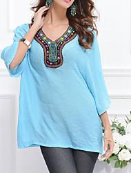 Tee-shirt Femme,Couleur Pleine Imprimé Décontracté / Quotidien simple Manches Longues Col en V Soie Coton Fibre de bambou