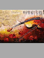 cheap -Hand-painted Oil Painting Musical Instruments on a Musical Score Wall Art with Stretched Framed Ready to Hang