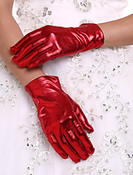 cheap -Faux Leather Wrist Length Glove Bridal Gloves With Pleated