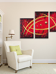 IARTS Oil Painting Modern Abstract Red Space Set of 3 Art Acrylic Canvas Wall Art For Home Decoration