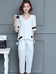 Felpa con cappuccio Pantalone Completi abbigliamento Da donna Estate Rotonda Manica corta Media elasticità